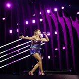La representante de Australia, Jessica Mauboy, en su primer ensayo de Eurovisión 2018