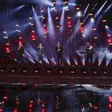 Los representantes de Georgia, Iriao, en su primer ensayo de Eurovisión 2018