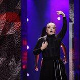 La representante de Malta, Christabelle. en su primer ensayo de Eurovisión 2018
