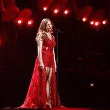 La representante de Letonia, Laura Rizzotto, en su primer ensayo de Eurovisión 2018