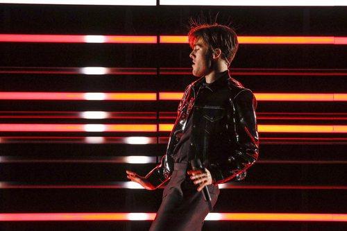 El representante de Suecia, Benjamin Ingrosso, en su primer ensayo de Eurovisión 2018