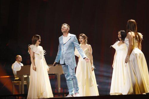 Vanja Radovanovic, representante de Montenegro, en su primer ensayo de Eurovisión 2018