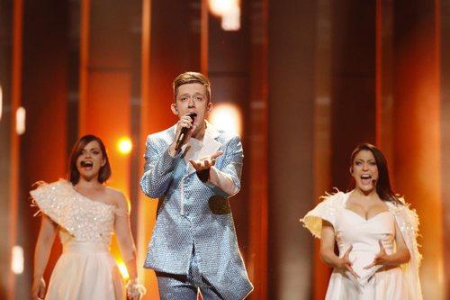 El representante de Montenegro, Vanja Radovanovic, en su primer ensayo de Eurovisión 2018