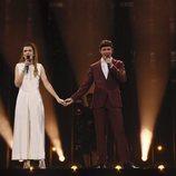 Amaia y Alfred, cogidos de la mano en su ensayo en Eurovisión 2018