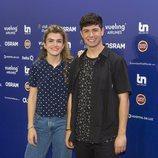 Amaia y Alfred en la rueda de prensa posterior a su ensayo en Eurovisión 2018