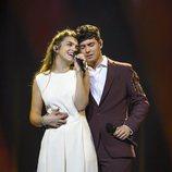 Amaia y Alfred bailan en el primer ensayo en Eurovisión 2018