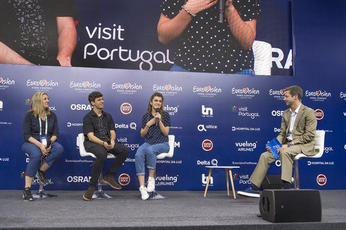 Ana María Bordas, Alfred y Amaia en la primera rueda de prensa de España en Eurovisión 2018