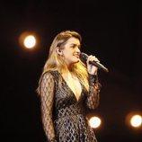 Amaia durante el segundo ensayo sobre el escenario de Eurovisión 2018