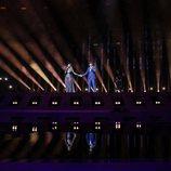 """Amaia y Alfred cantando """"Tu canción"""" durante el segundo ensayo de Eurovisión 2018"""