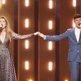 Amaia y Alfred, cogidos de la mano en el segundo ensayo de Eurovisión 2018