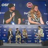 Alfred y Amaia ofrecen una rueda de prensa en Lisboa para promocionar la candidatura española en Eurovisión