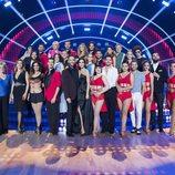 Los concursantes, bailarines y presentadores en el plató de 'Bailando con las estrellas'