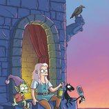Bean, Elfo y Luci bebiendo en la ventana del castillo de Dreamland en '(Des)encanto'