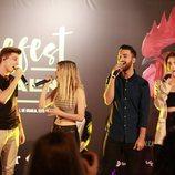 Raoul, Mimi, Nerea y Agoney cantando en la presentación del  Carrefest Music Talent 2018