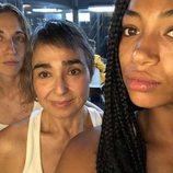 Marta Aledo, María Isabel Díaz y Berta Vázquez en el rodaje de 'Vis a vis'