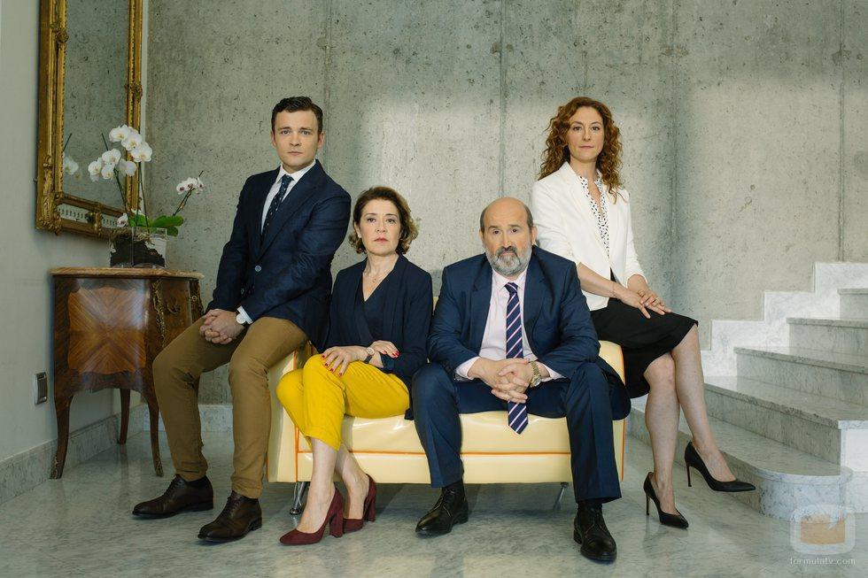 Adam Jezierski, Nuria Mencía, María Pujalte y Javier Cámara, actores de 'Vota Juan'