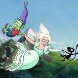 Elfo, Bean y Luci caen por un acantilado en '(Des)encanto'