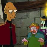 King Zøg lidera un grupo de cortesanos atemorizados ante un hombre en '(Des)encanto'