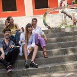 Amaia Romero, Aitana Ocaña, Roi Méndez y Ana Guerra posan junto al logo de 'OT 2018' en la fase final del casting