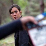Megan Montaner grabando una escena en la serie 'La caza. Monteperdido'