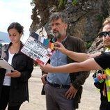 Francis Lorenzo y Megan Montarner durante el rodaje de 'La caza. Monteperdido'