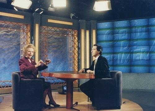 Iñaki Gabilondo charla con Margaret Thatcher, imagen de archivo para 'Imprescindibles'