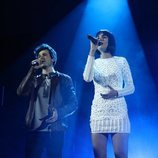 Miki y Natalia en su actuación de la Gala 6 de 'OT 2018'