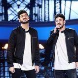 Manu Sánchez imita a Cepeda acompañado del auténtico en la Gala 9 de 'Tu cara me suena'