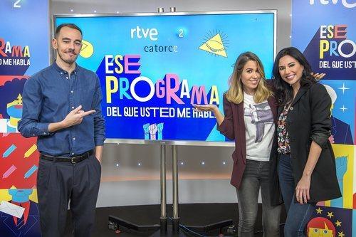 Alberto Casado, María Gómez y Marta Flich posan en la presentación de 'Ese programa del que usted me habla'
