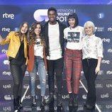 Los finalistas de 'OT 2018' posando en la rueda de prensa tras la final