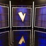 Paneles con el logo de 'La Voz' en el nuevo plató de Antena 3
