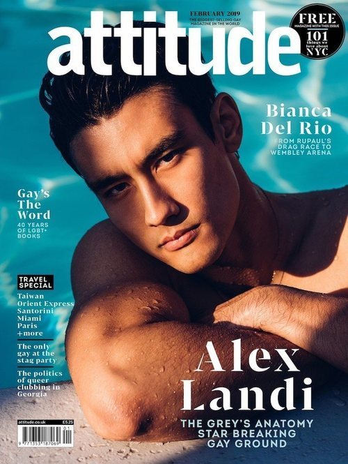 Alex Landi, doctor gay de 'Anatomía de Grey', en la portada de la revista Attitude