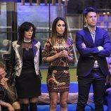 Raquel Martín, Yoli Sáez y Fede, de pie a punto de saber quién se salva en la gala 3 de 'GH Dúo'
