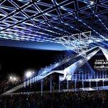 Una estructura de triángulos colgante en el escenario de Eurovisión 2019
