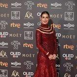 Belén López posando en la alfombra roja de los Premios Goya 2019