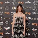 Manuela Velasco posando en la alfombra roja de los Premios Goya 2019