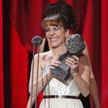 Eva Llorach recibiendo su galardón en los Premios Goya 2019