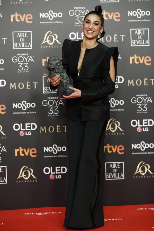"""Carolina Yuste de """"Carmen y Lola"""" con su Goya 2019 a Mejor actriz de reparto"""