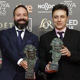 """Roberto Fernández y Alfonso Raposo con su Goya 2019 a Mejor sonido por """"El reino"""""""
