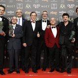 """Parte del equipo de """"Campeones"""" con sus tres premios Goya 2019"""