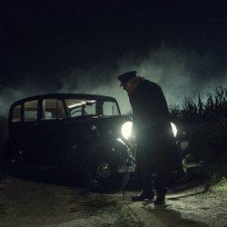 Zachary Quinto caracterizado como Charlie Manx en 'NOS4A2'