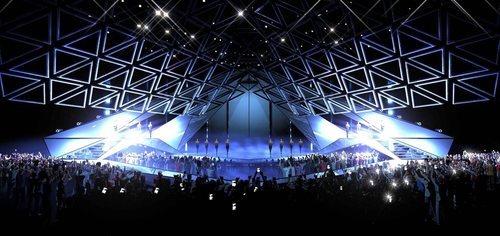 El techo del escenario de Eurovisión 2019 se pliega sobre el público