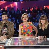 Tony Aguilar, Ágatha Ruiz de la Prada y Noemí Galera en la Gala 1 de 'La mejor canción jamás cantada'