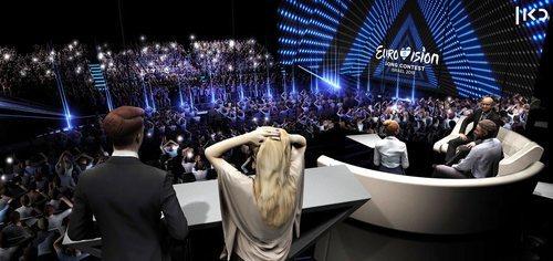 Vista lateral del escenario de Eurovisión 2019 desde la Green Room