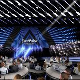 Vista frontal del escenario de Eurovisión 2019 desde la Green Room
