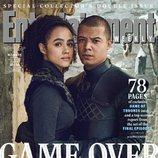 Nathalie Emmanuel y Jacob Anderson como Missandei y Gusano Gris de 'Juego de Tronos' para la revista EW