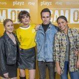 Denisse Peña, Alejandro Jato, Sandra Martín y Silvia Sanabria en la presentación de 'Cam On'