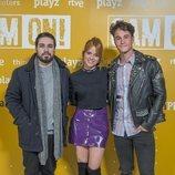 Ana Jara, Manuel Huedo y Michael Ronda en la presentación de 'Cam On'