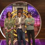 Jordi Cruz, Pepe Rodríguez y Samantha Vallejo-Nágera, en la presentación de 'MasterChef 7'