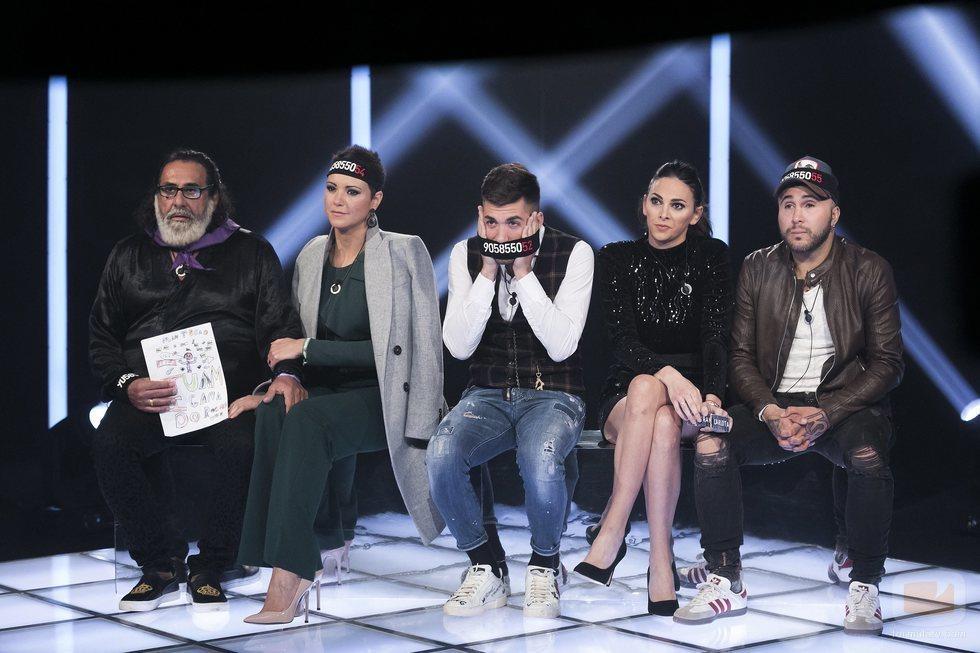 Kiko Rivera, Irene Rosales, María Jesús, Juanmi  y Alejandro Albalá en la Gala 14 de 'GH Dúo'